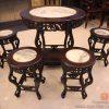 bàn tròn uống trà, đồ gỗ ngọc sơn