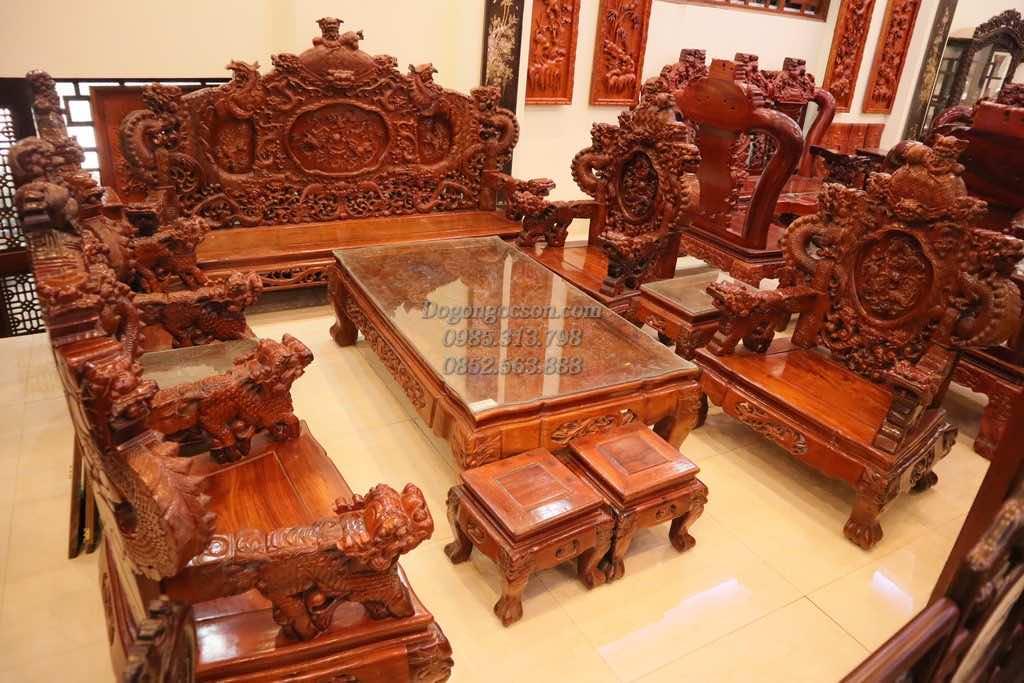 Bộ bàn ghế rồng đỉnh gỗ Hương NC002