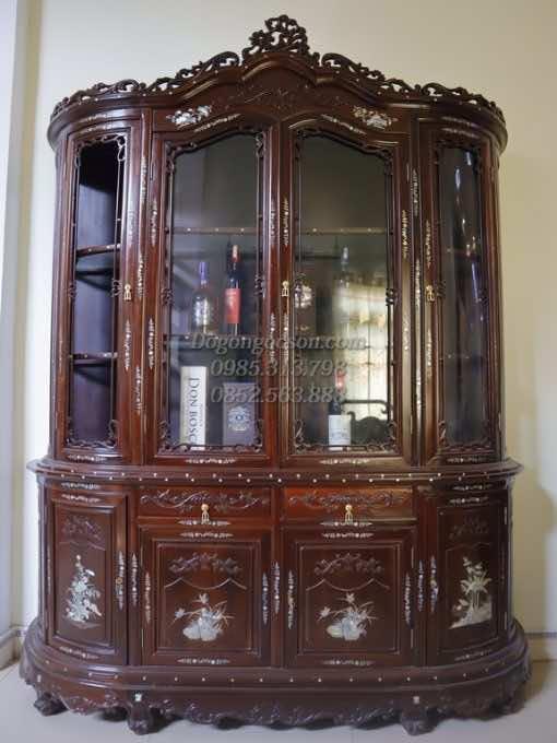Tủ rượu đẹp gỗ gụ TRG005