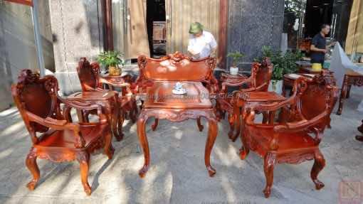 Bàn ghế louis, Bàn ghế hoàng gia gụ ta mẫu 2 Lou007
