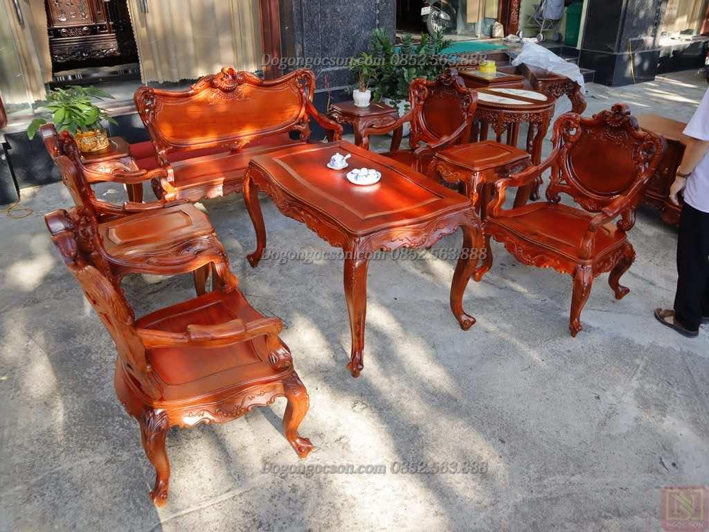 Bàn ghế hoàng gia gụ ta mẫu 2 Lou007