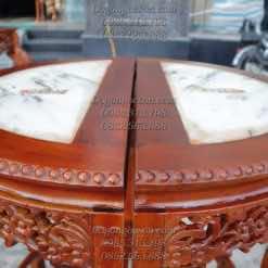 Đôn gỗ bán nguyệt mặt đá DON012