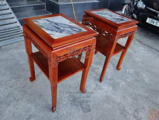 Đôn gỗ vuông mặt đá gỗ gụ Gia Lai DON011