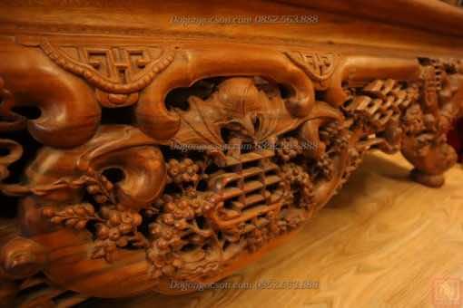 Hình ảnh chi tiết của bộ sập gụ tủ chè ngũ phúc SD008