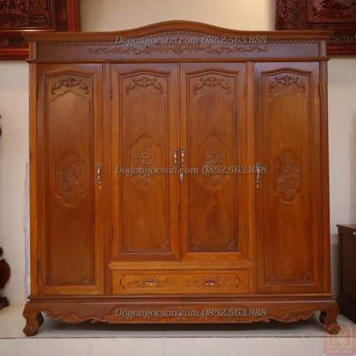 Tủ quần áo 4 cánh gỗ hương TQA003