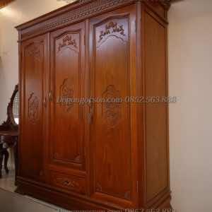 Tủ quẩn áo 3 buồng gỗ hương ta TQA002