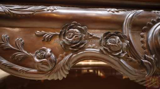 Chi tiết đục hoa văn louis trên quây sập