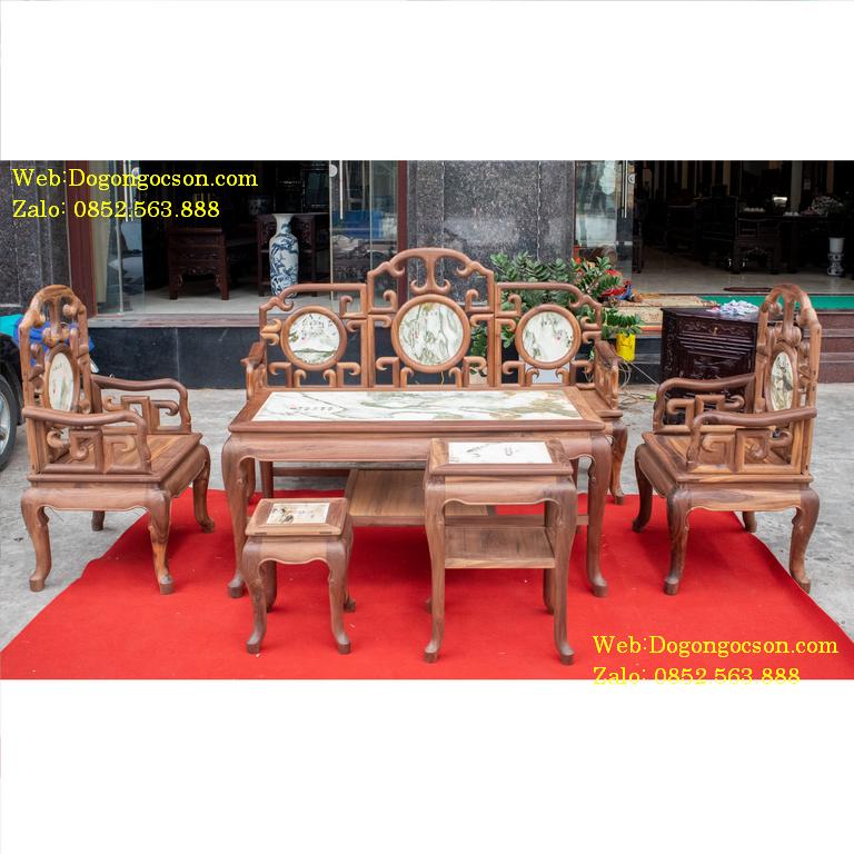 Bàn ghế móc mỏ 6 món MM004