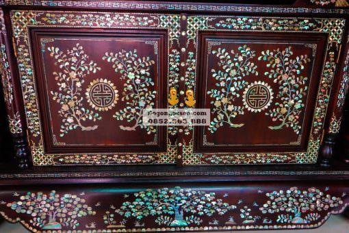 tủ kệ tivi gỗ khảm ốc KTV003