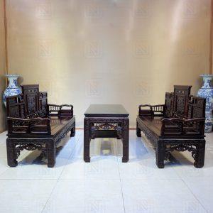 Trường kỷ cổ đồ đại 3 món gỗ gụ